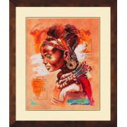 Африканская женщина. Набор для вышивания: мулине хб,счетный крест,ткань 27 каунт тонированная, размер: 39*49 см .