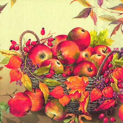 Корзина с яблоками, кремовый. Салфетки бумажные для декупажа. Размер: 33*33 см.