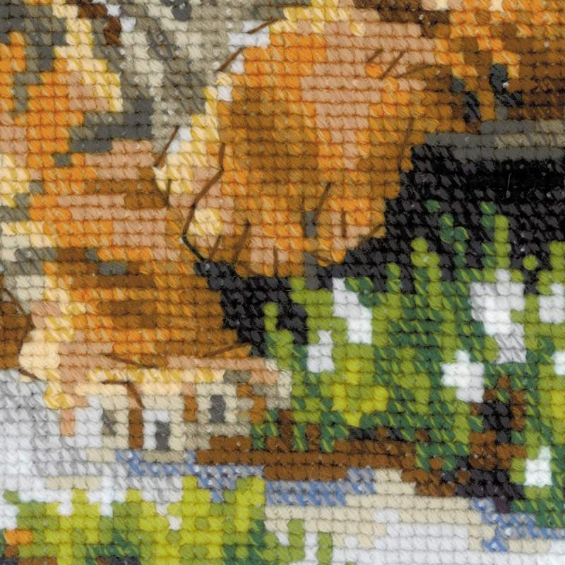 Вышивка крестом тигр на снегу 162