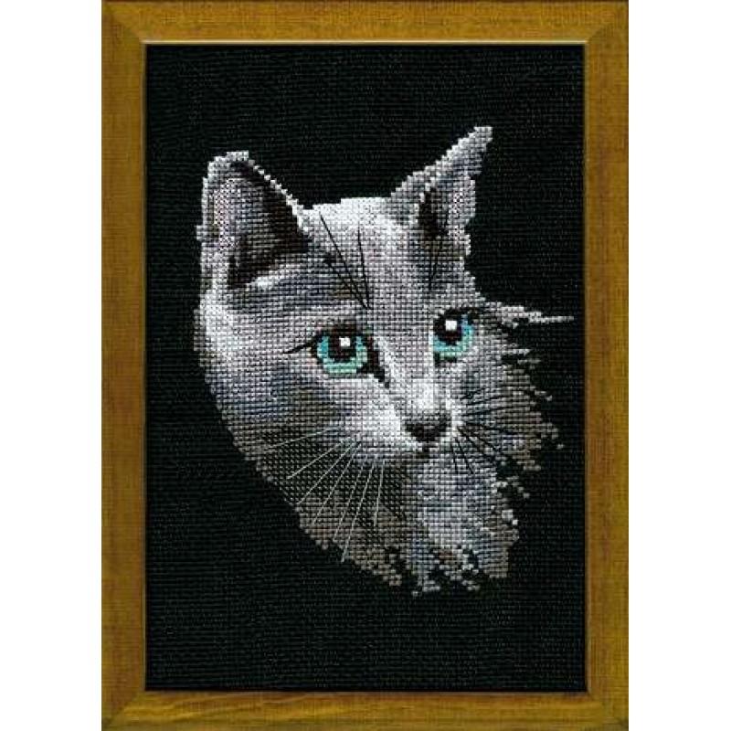 Вышивка крестом кошка черная 40