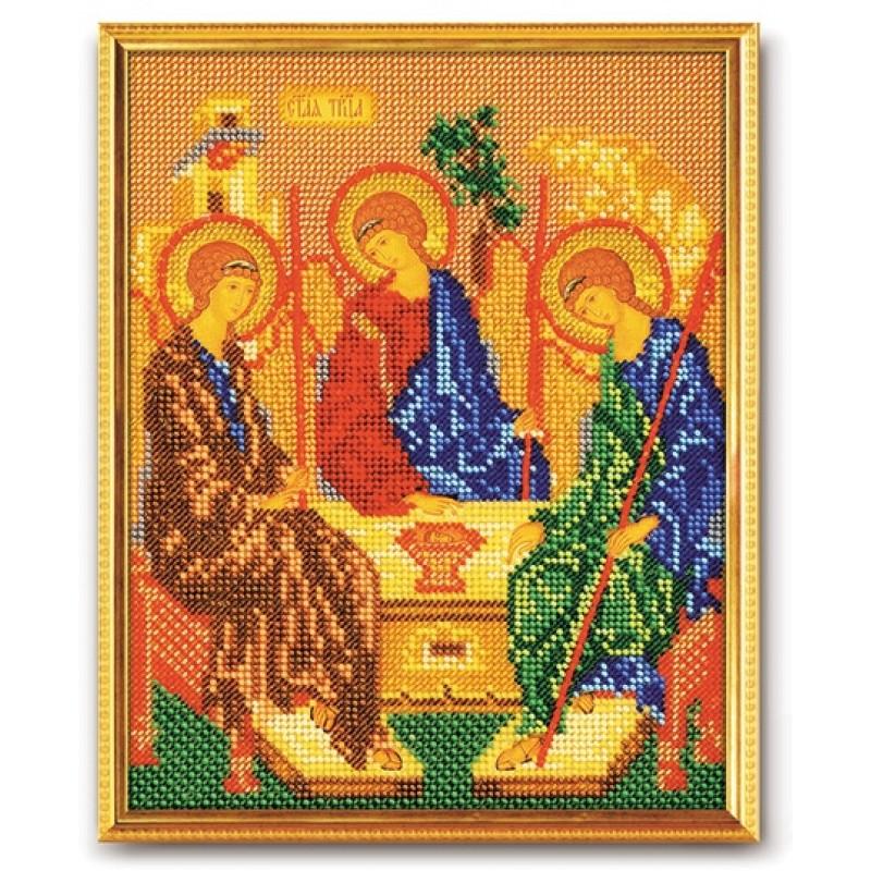Святая троица икона вышивка бисером