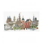 Амстердам. Набор для вышивания: мулине хб,счетный крест,лен 36 каунт,размер:79*50 см.