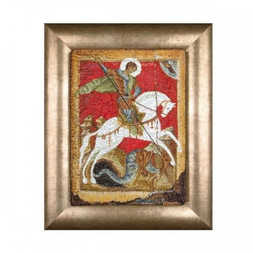 Георгий Победоносец Икона.Набор для вышивания: мулине хб,счетный крест,канва 18 белая,размер:22*33,5  см .