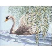Лебедь. Набор для вышивания: мулине хб,счетный крест,канва 14 голубая,размер:36*28 см